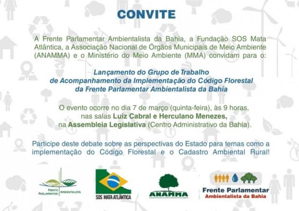 Convite para lancamento do GT do Codigo Florestal na Bahia