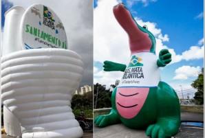 colagem Dia do Tietê Jacaré Vaso Sanitário Infláveis