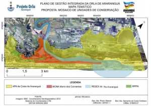 Unidades de Conservação de Araranguá criadas por demanda do projeto Orla.  Fonte: Plano de Gestão Integrada da Orla de Araranguá
