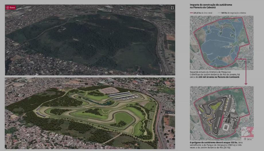 Proposta de construção de autódromo na Floresta do Camboatá, no Rio de Janeiro, passa por cima da lei de proteção do bioma Mata Atlântica © Reprodução/Pindorama Filmes